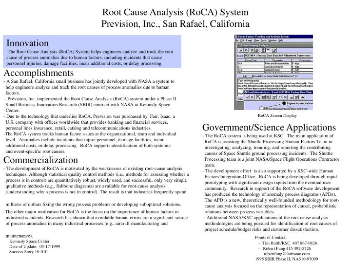 Root cause analysis roca system prevision inc san rafael california l.jpg