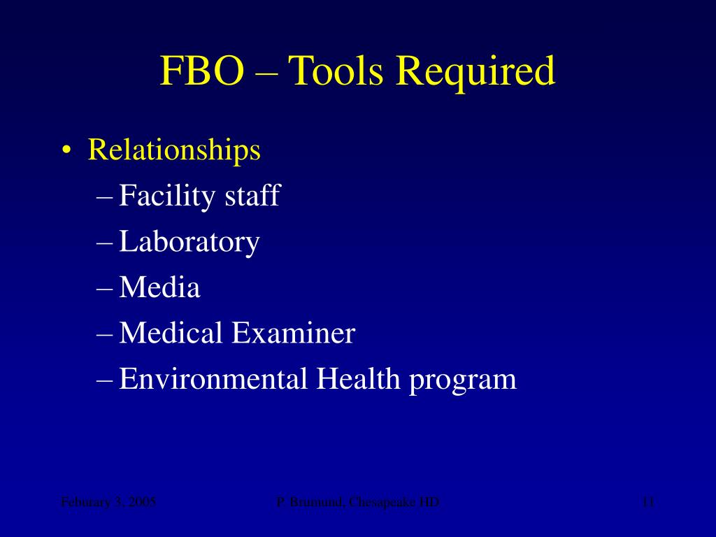 FBO – Tools Required