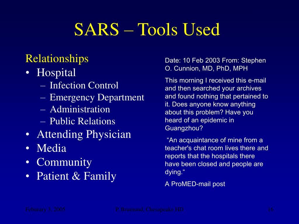SARS – Tools Used