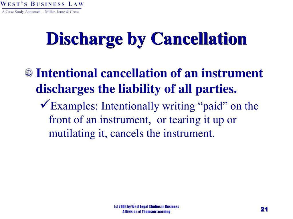 Discharge by Cancellation