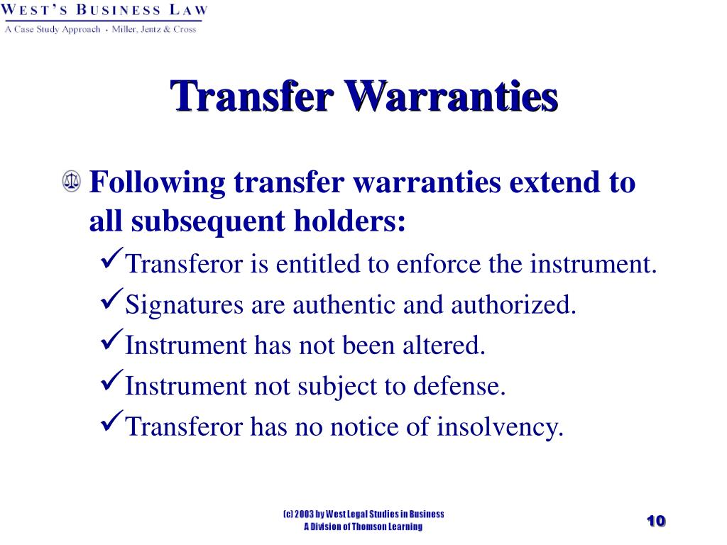 Transfer Warranties