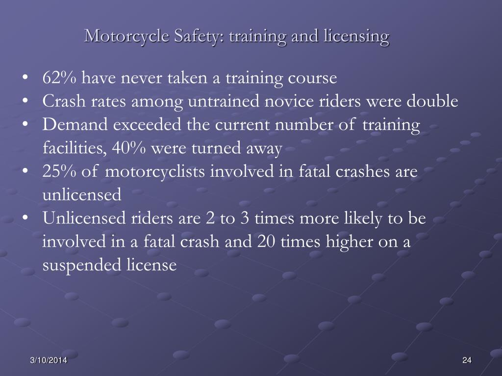Motorcycle Safety: training and licensing