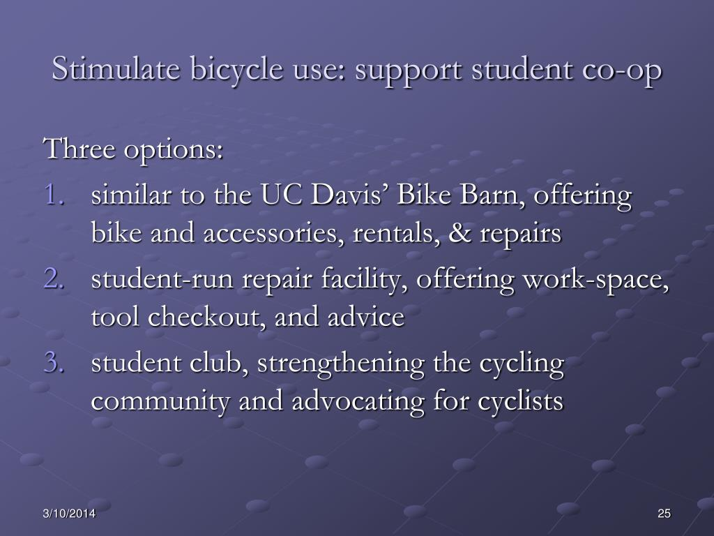 Stimulate bicycle use: support student co-op