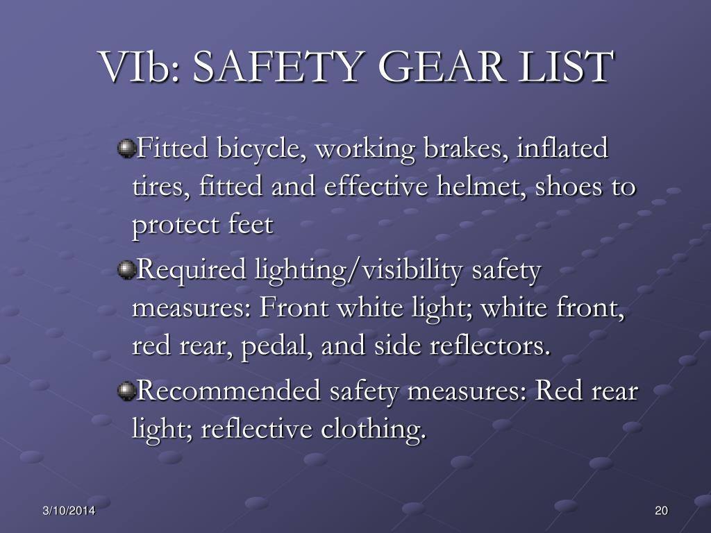 VIb: SAFETY GEAR LIST