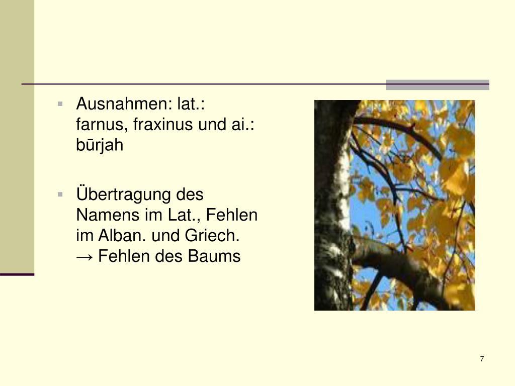Ausnahmen: lat.: farnus, fraxinus und ai.: b