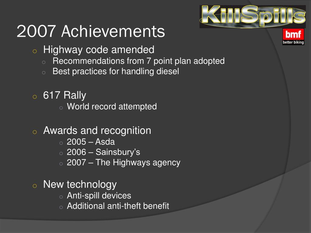 2007 Achievements