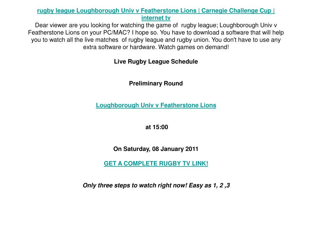 rugby league Loughborough Univ v Featherstone Lions | Carnegie Challenge Cup | internet tv