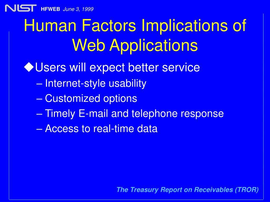 Human Factors Implications of Web Applications