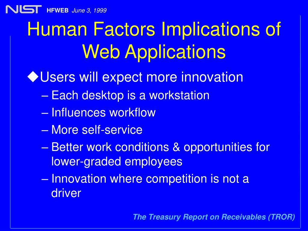 Human Factors Implications of Web Applications