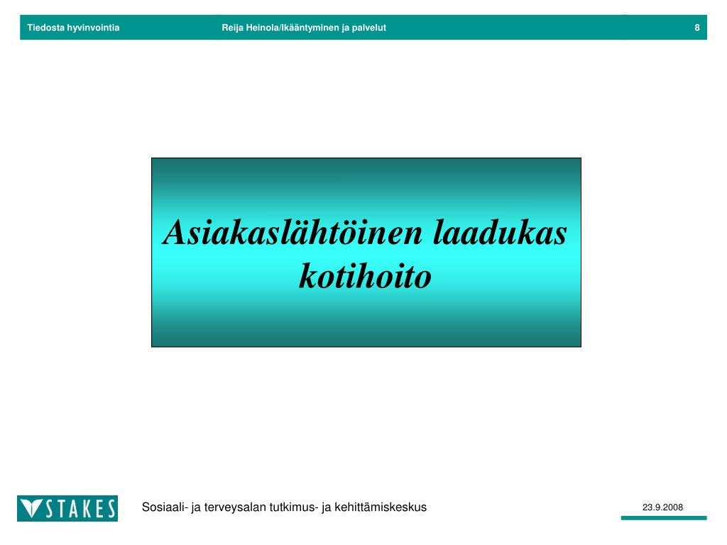 Reija Heinola/Ikääntyminen ja palvelut