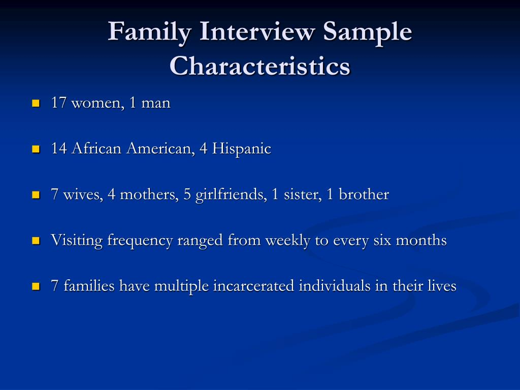 Family Interview Sample Characteristics