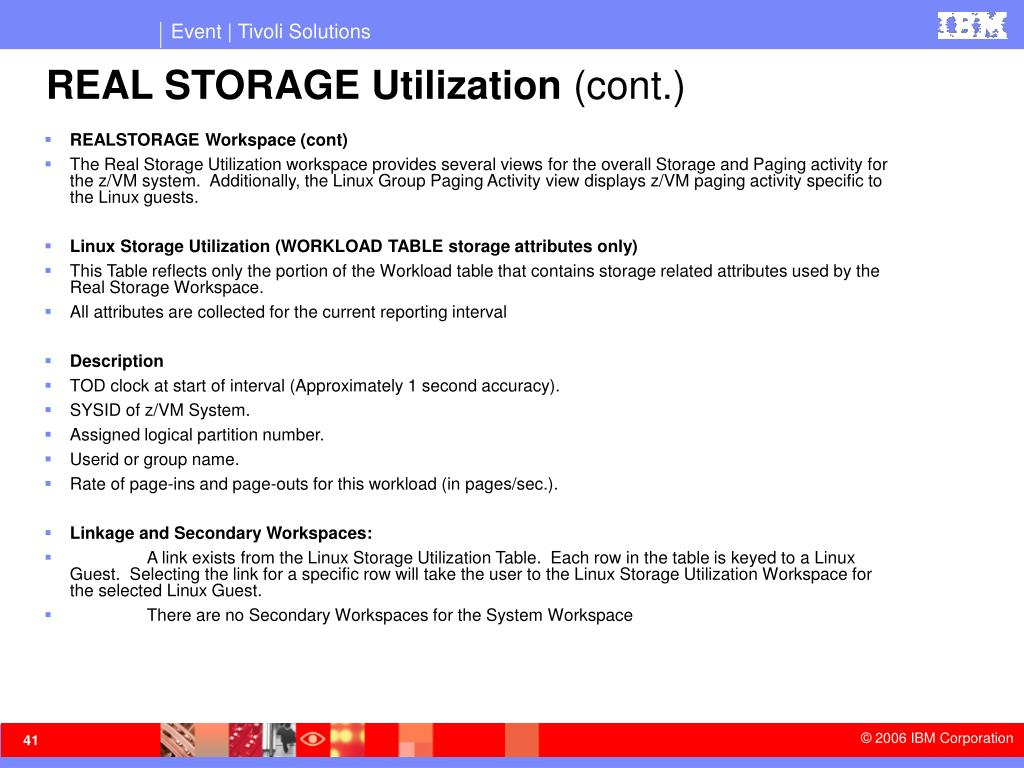 REAL STORAGE Utilization