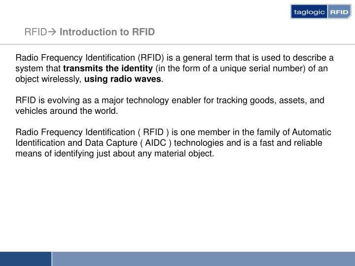 Rfid introduction to rfid