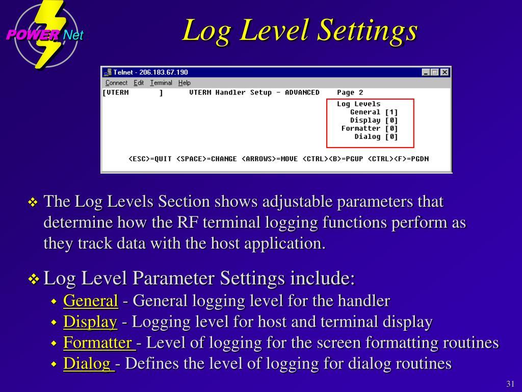 Log Level Settings
