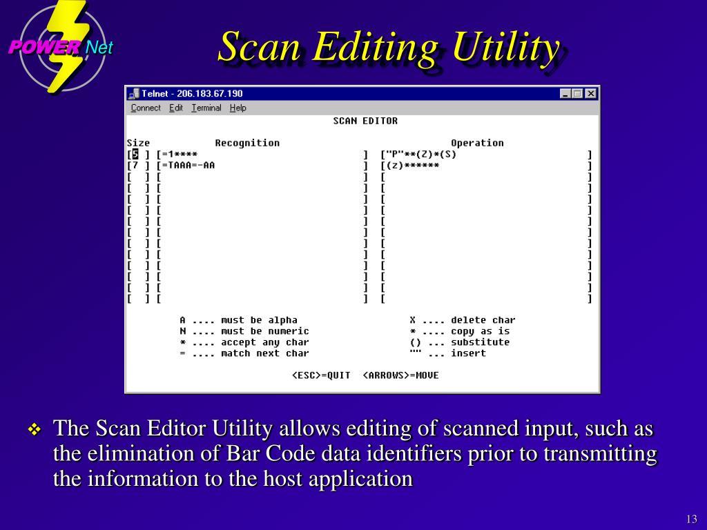 Scan Editing Utility