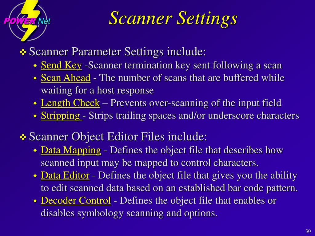 Scanner Settings