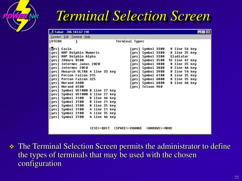 Terminal Selection Screen