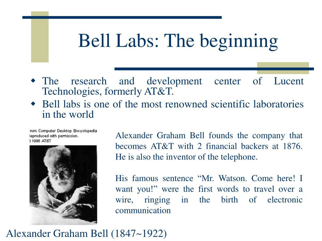 Bell Labs: The beginning