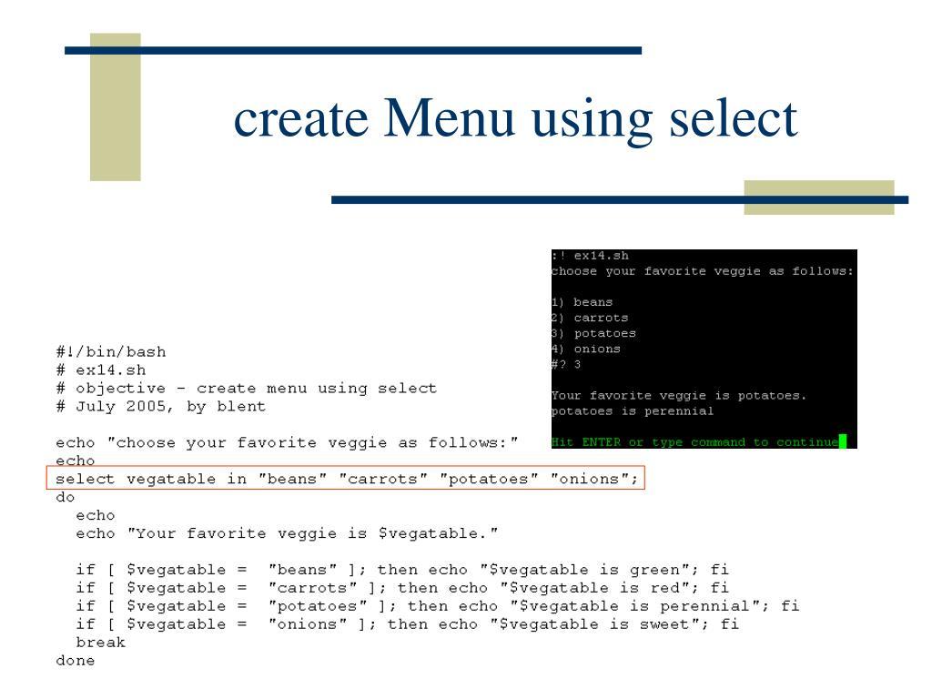 create Menu using select