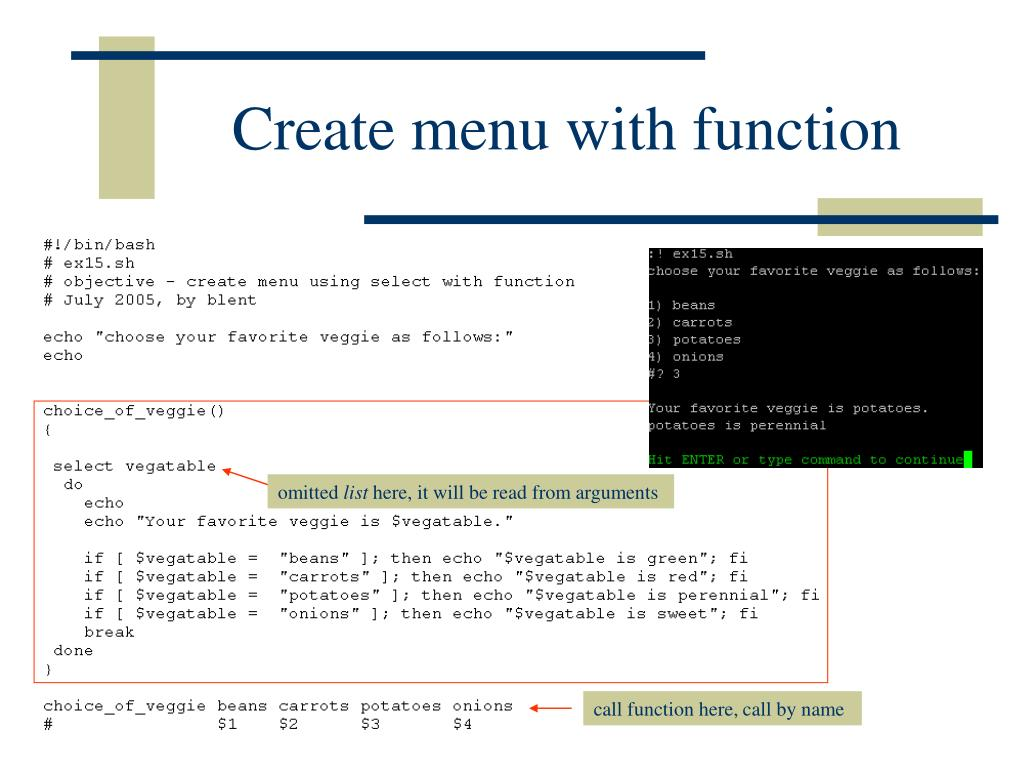 Create menu with function