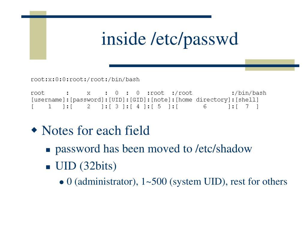 inside /etc/passwd