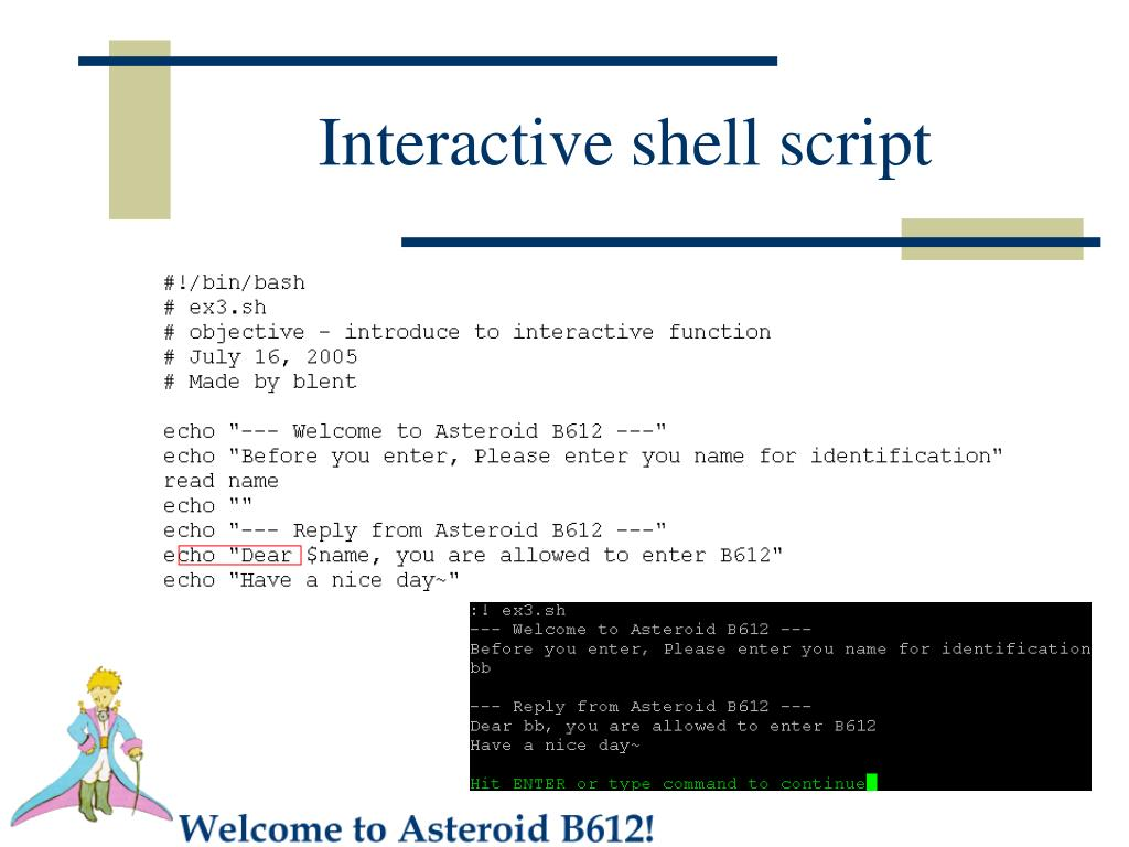 Interactive shell script