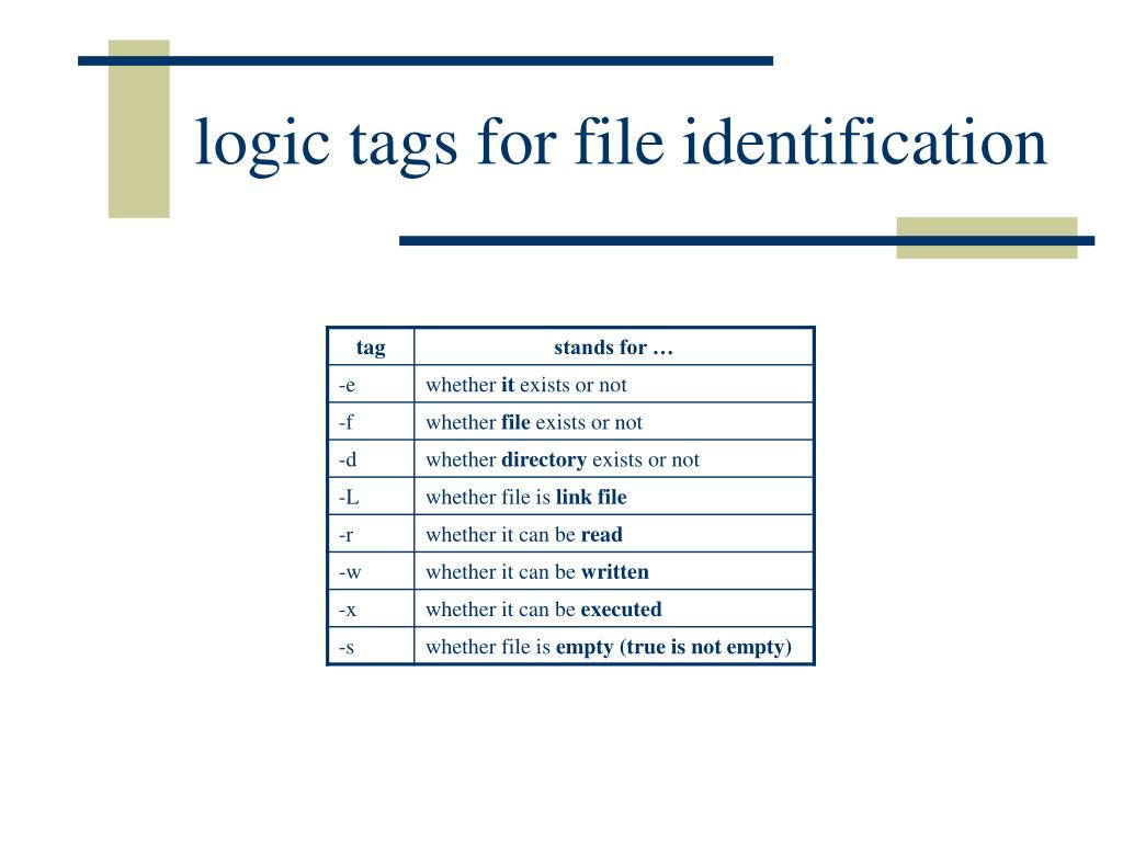 logic tags for file identification