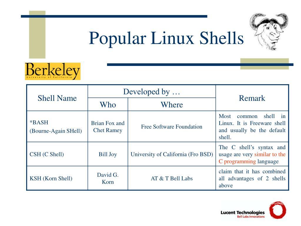Popular Linux Shells