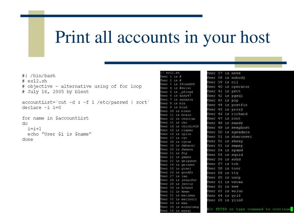 Print all accounts in your host