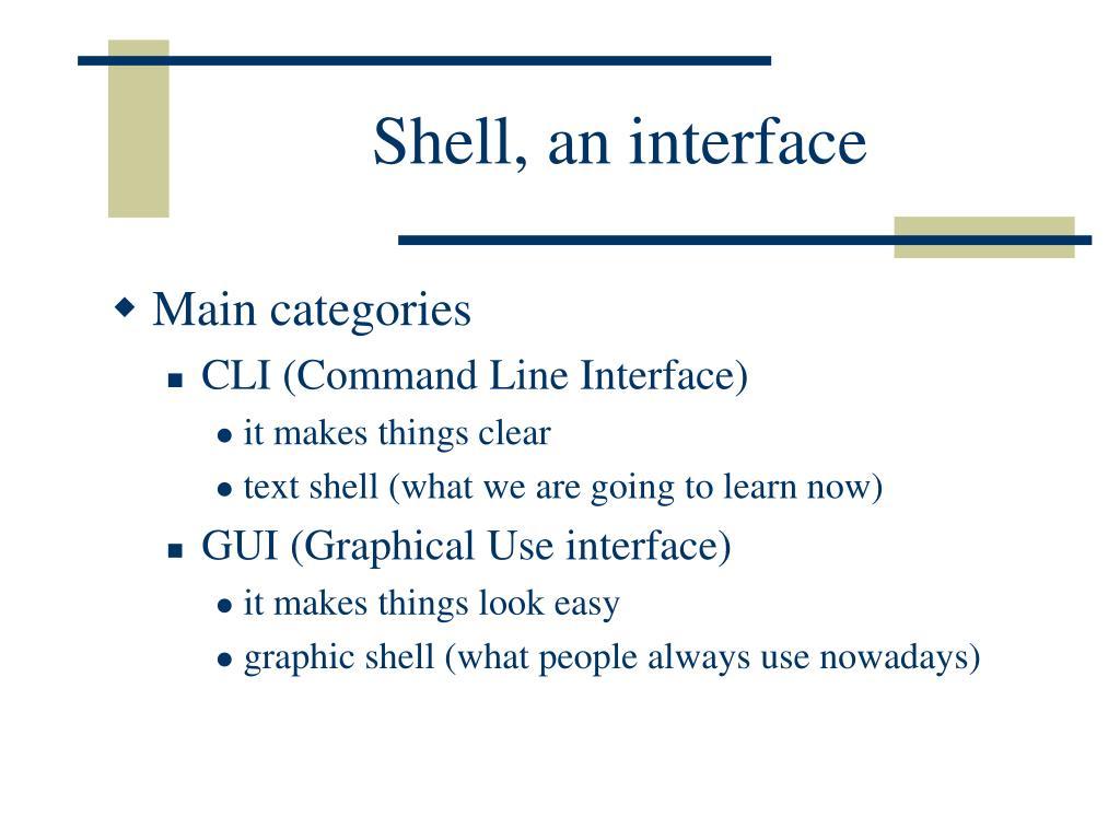 Shell, an interface