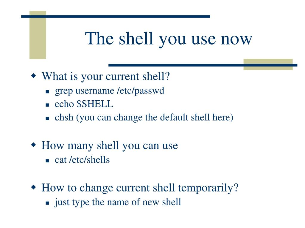 The shell you use now