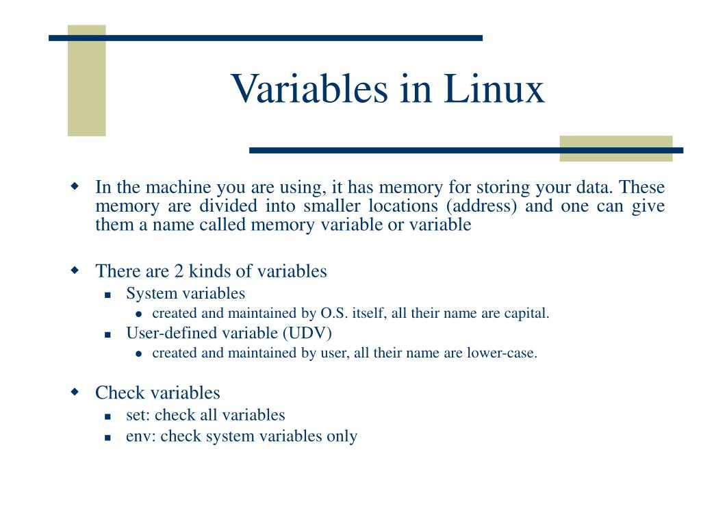Variables in Linux