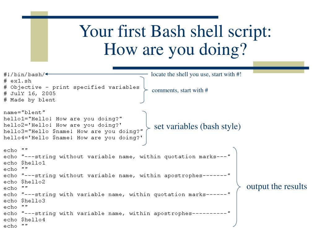 Your first Bash shell script: