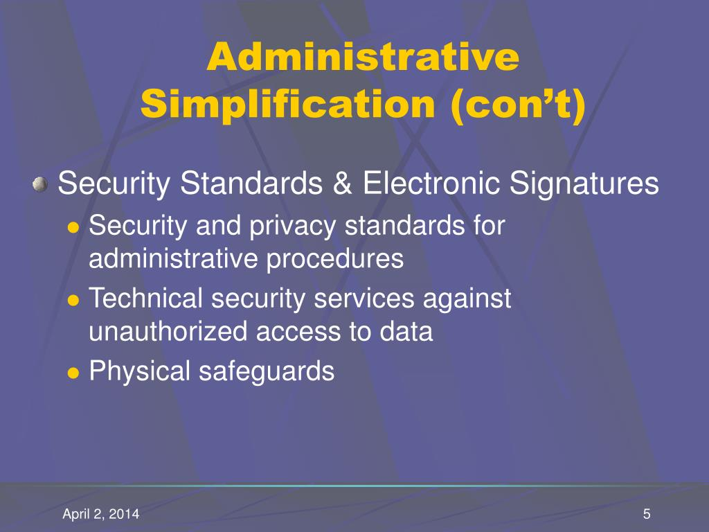 Administrative Simplification (con't)