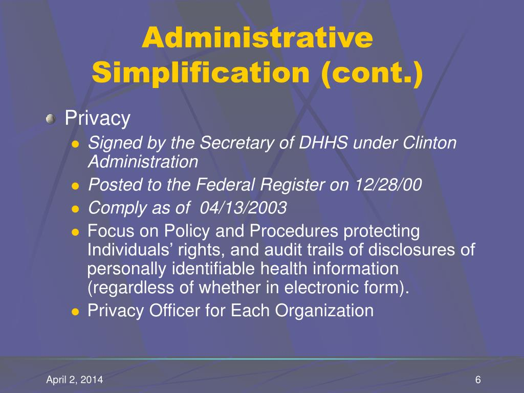 Administrative Simplification (cont.)