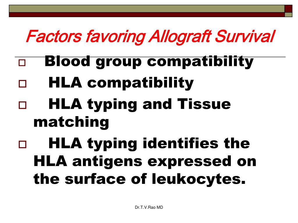 Factors favoring Allograft Survival