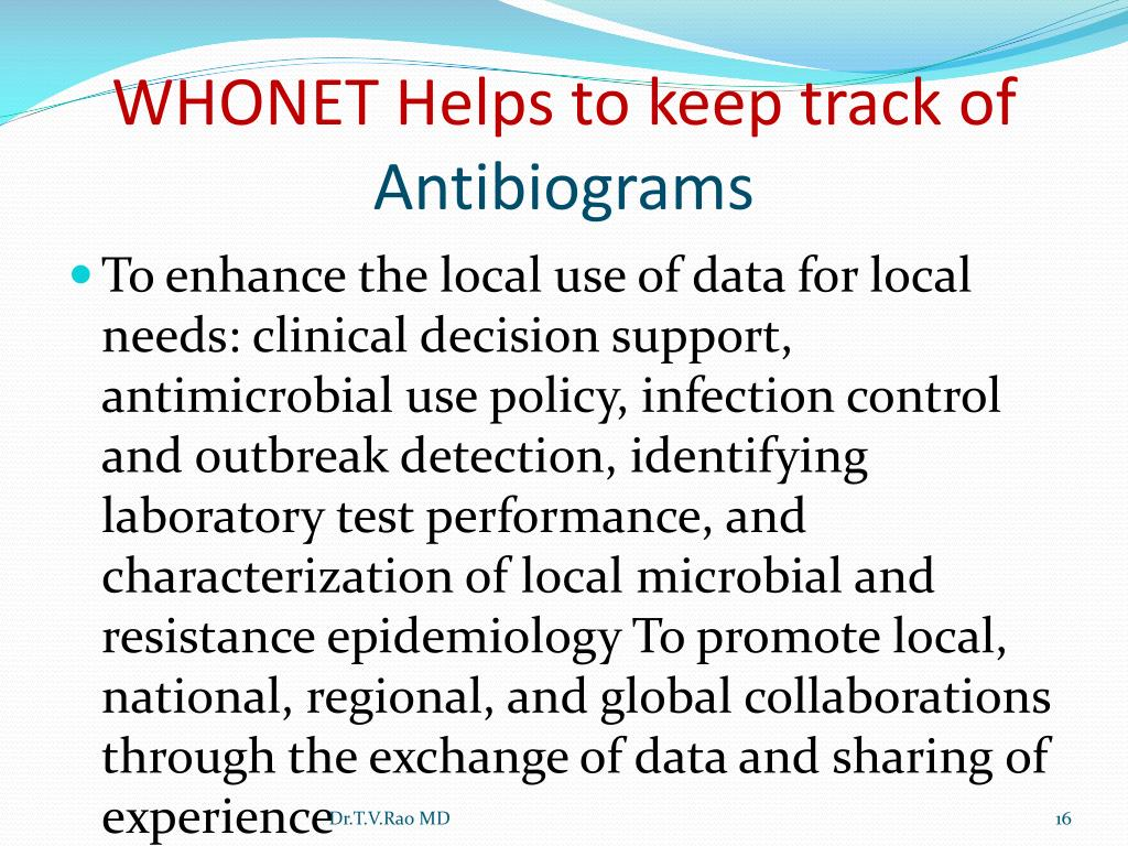 WHONET Helps to keep track of