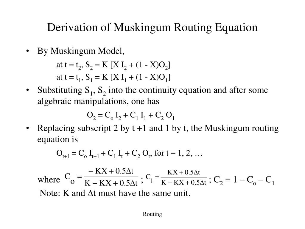 Derivation of Muskingum Routing Equation