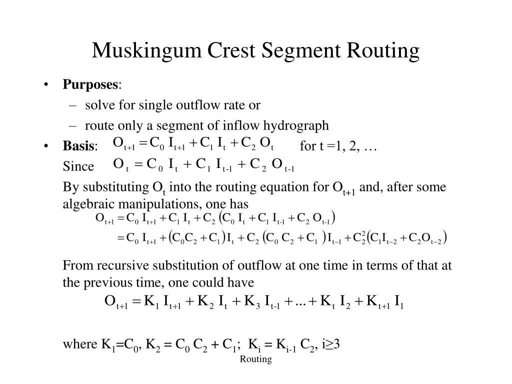 Muskingum Crest Segment Routing