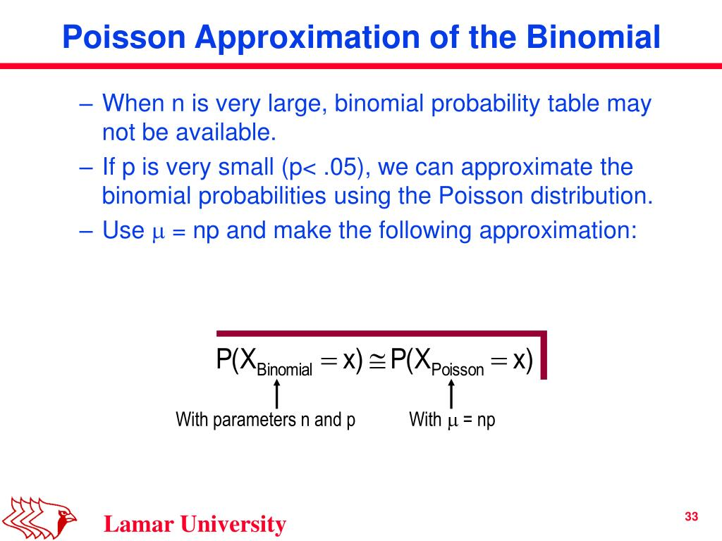 When n is very large, binomial probability table may not be available.