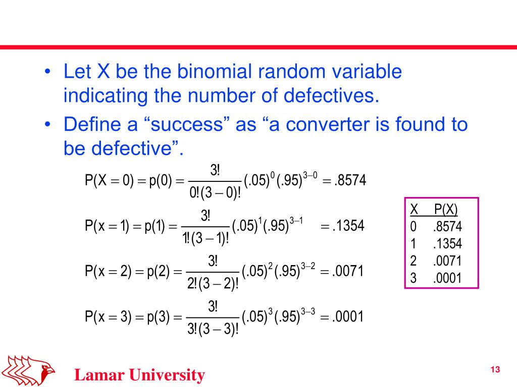 Let X be the binomial random variable indicating the number of defectives.