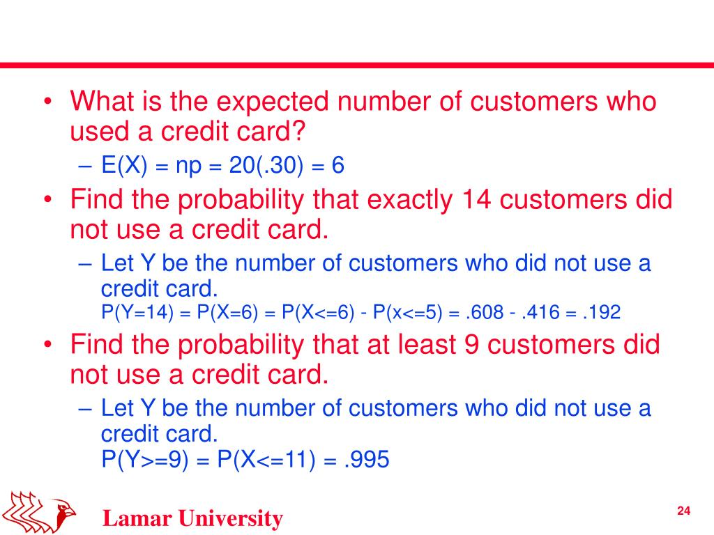 What is the expected number of customers who used a credit card?