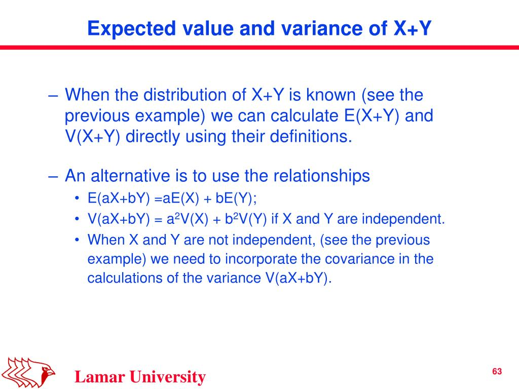 When the distribution of X+Y is known (see the previous example) we can calculate E(X+Y) and V(X+Y) directly using their definitions.