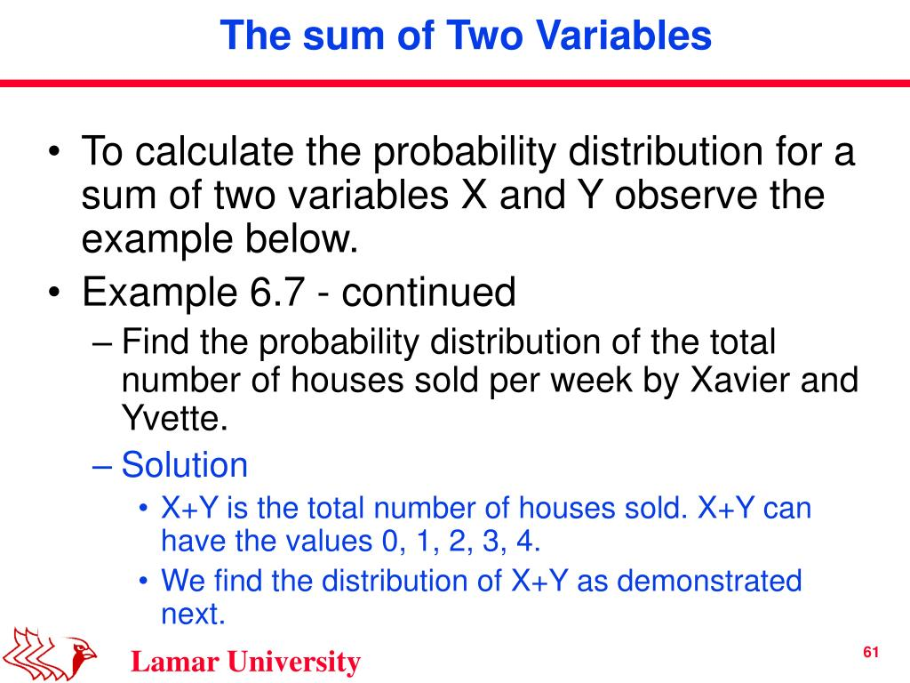 To calculate the probability distribution for a sum of two variables X and Y observe the example below.