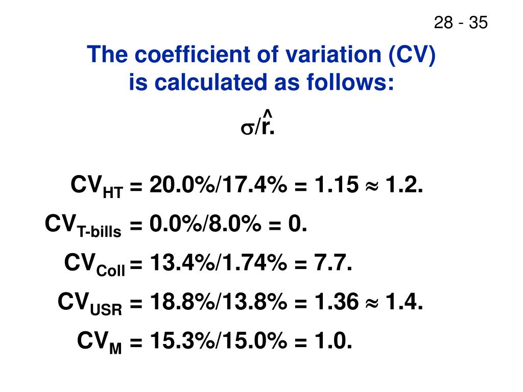 The coefficient of variation (CV)