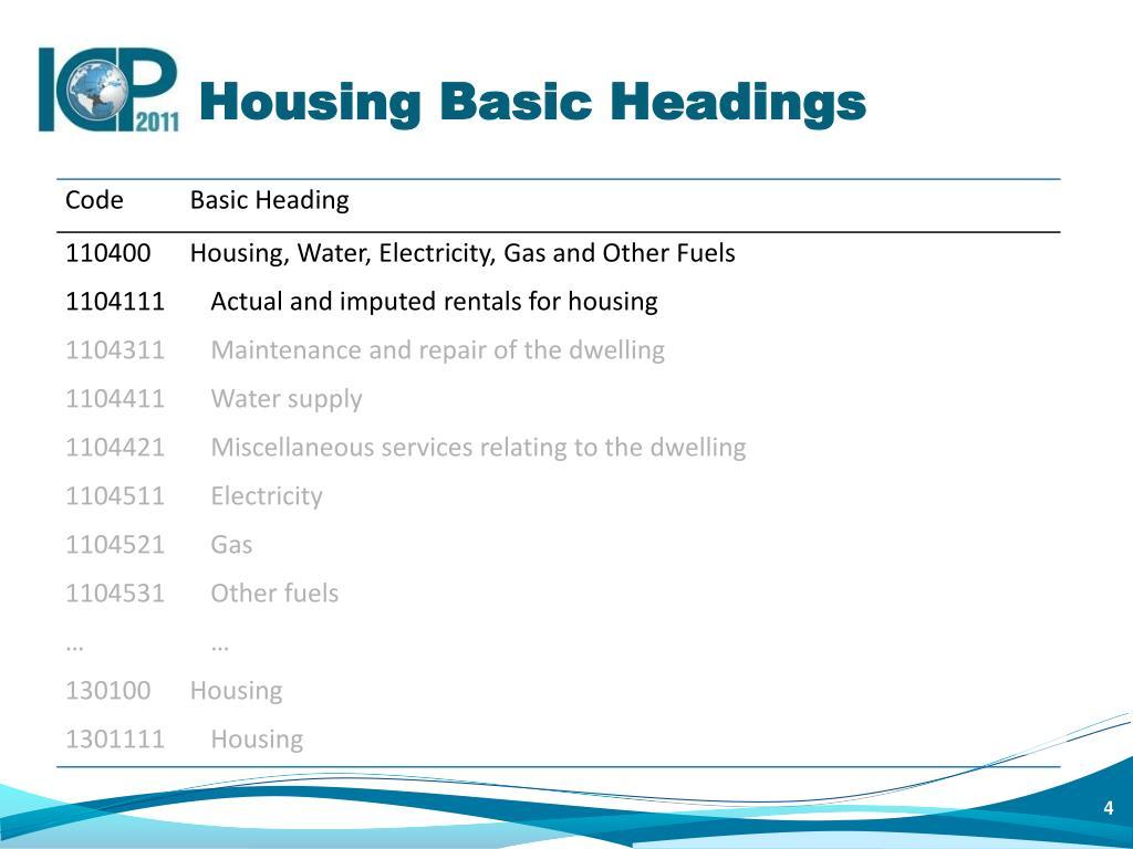 Housing Basic Headings