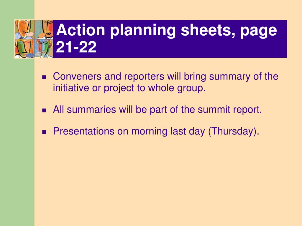 Action planning sheets, page 21-22