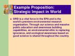 example proposition strategic impact in world