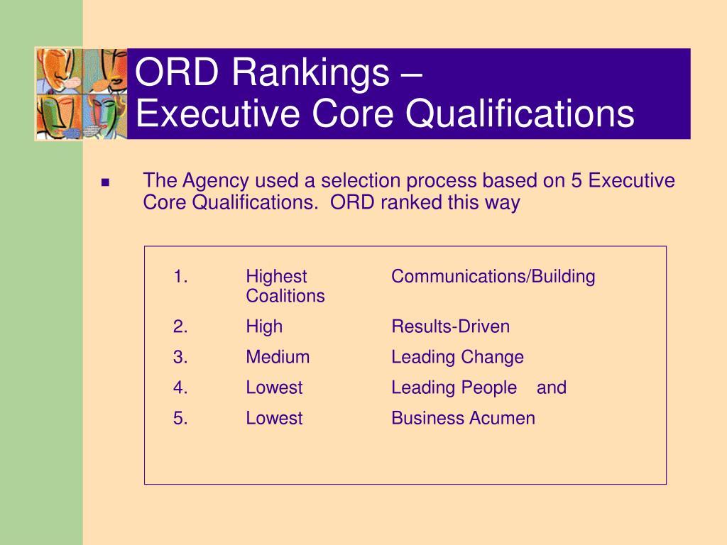ORD Rankings –