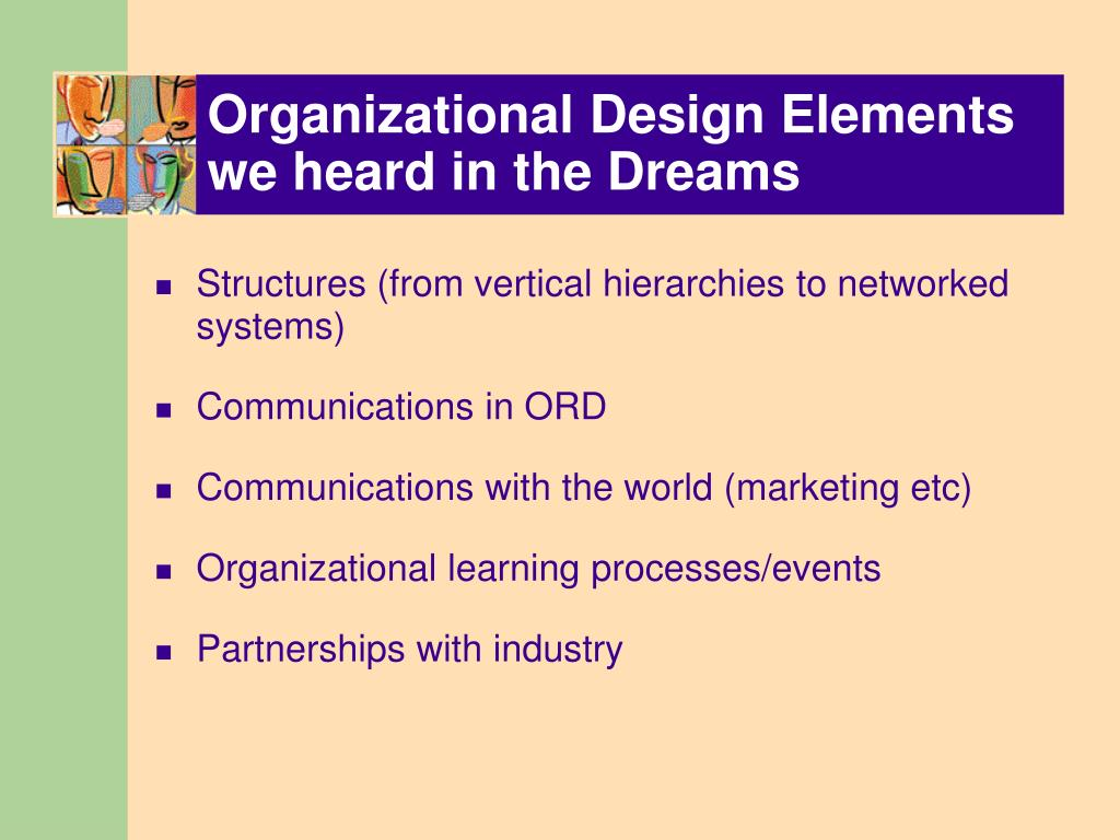 Organizational Design Elements we heard in the Dreams